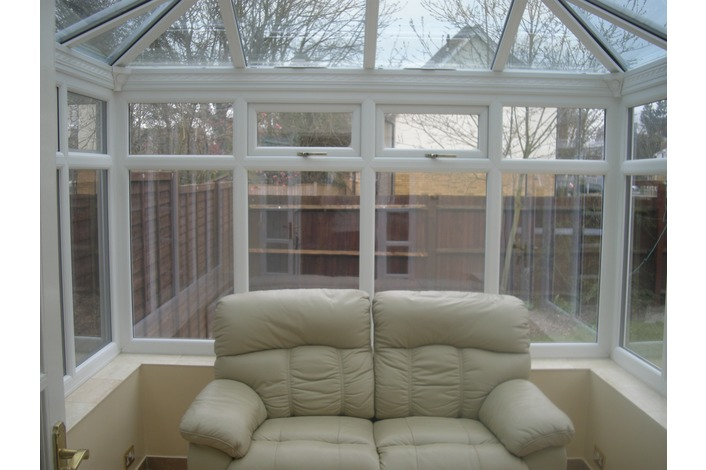 Internal view of white edwardian conservatory