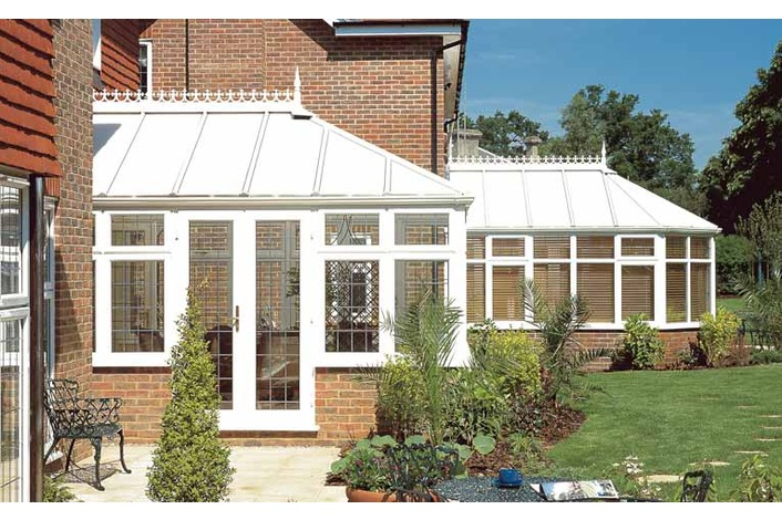 White Victorian and Georgian conservatories