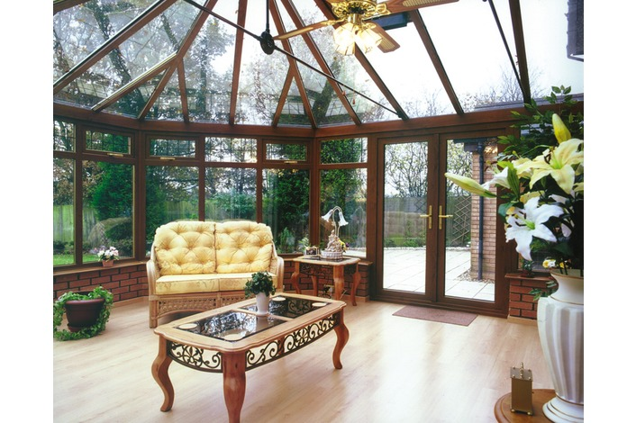 Internal view of light oak double hipped Victorian with glass roof