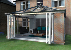Livin room with bifold doors