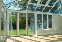 internal conservatory view with bifold door