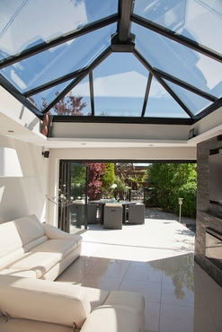 roof lantern above bifold door