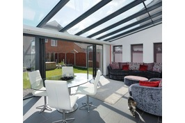 glass room extension with bifold door