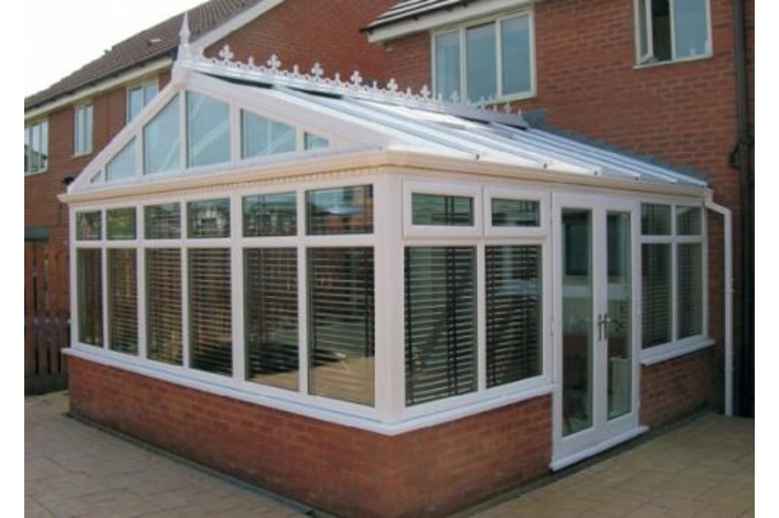 White Gable End conservatory with vertical mullion gable frame