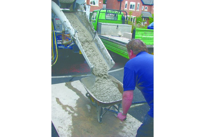Although concrete can be mixed on site most installations use ready mixed supplies for speed and efficiency.