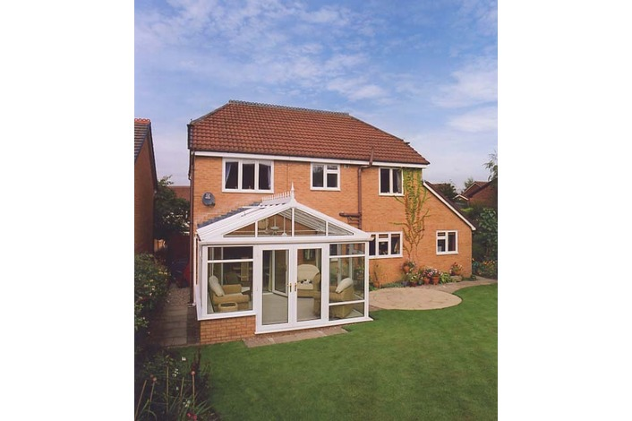 White Gable End conservatory with mullion gable frame
