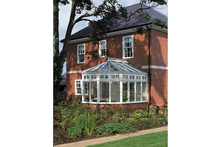 White dwarf wall Victorian conservatory with glass roof