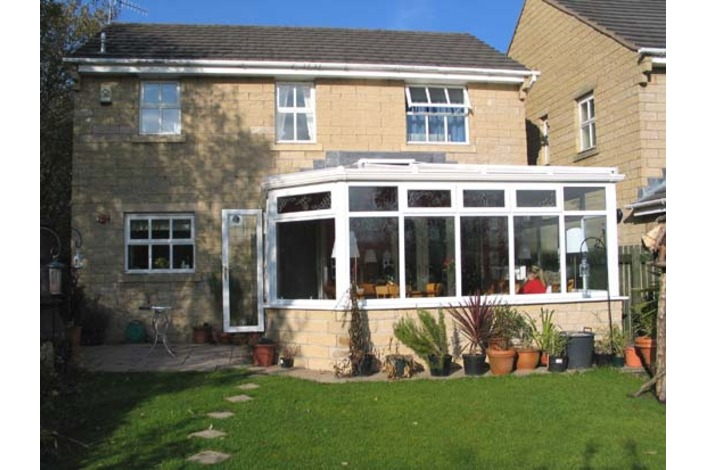 White hipped Lean to conservatory