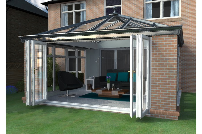 Livin room orangery conservatory with bifold doors and optional Cornice gutter shroud