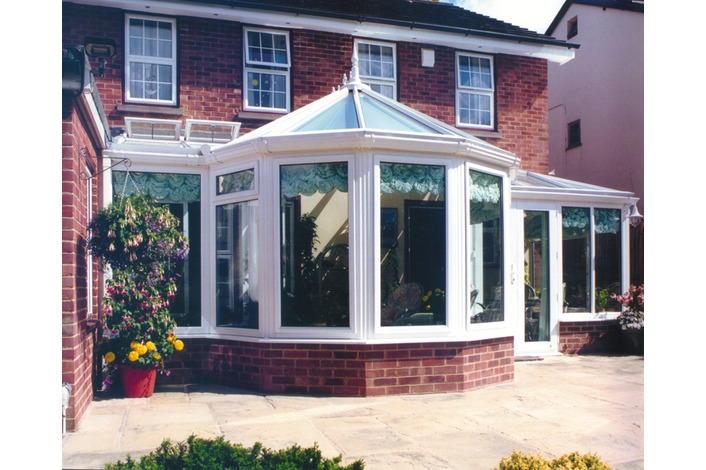 White Victorian P shape conservatory