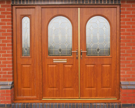 Stafford french doors and sidepanel in oak with matching oak frame